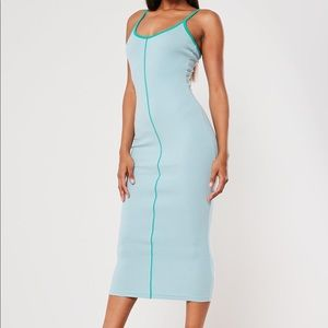 Missguided Green Rib Contrast Piping Midi Dress